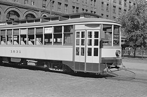 Twin City Rapid Transit Company - Streetcar in downtown Minneapolis, 1939.