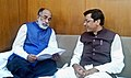 Sudarshan Bhagat meeting the Minister of State for Tourism (IC) and Electronics & Information Technology, Shri Alphons Kannanthanam to discuss promotion of tourism in Jharkhand, in New Delhi.jpg