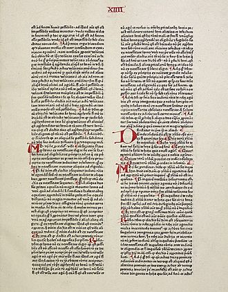 Summa Theologica - Page from an incunable edition of part II (Peter Schöffer, Mainz 1471)