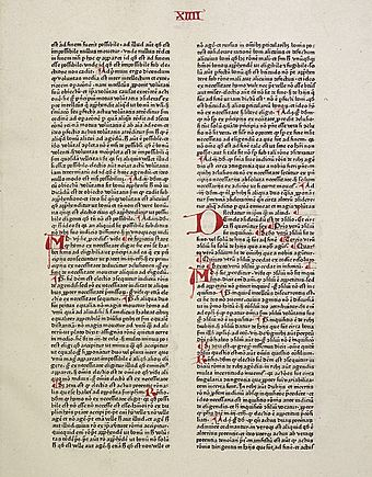 In Summa Theologiae, (1471 copy shown here) Thomas Aquinas addressed many of the open Christological questions regarding the Nativity of Jesus. SummaTheologiae.jpg