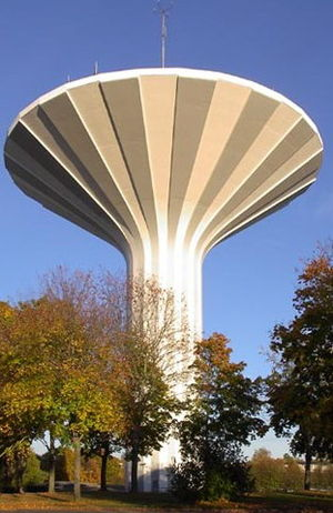 Örebro - The watertower Svampen (The Mushroom). A restaurant is located at the top of the building.