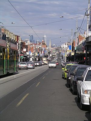 Brunswick, Victoria - Sydney Road, Brunswick, looking south to Melbourne's central business district