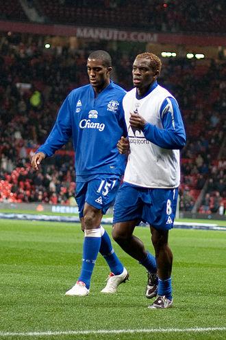 Louis Saha - Saha (right) alongside Sylvain Distin with Everton in 2009.