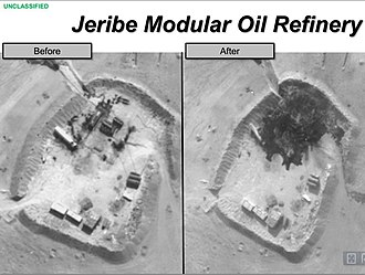 Oil production and smuggling in ISIL - U.S. airstrike against Jeribe modular oil refinery, September 2014