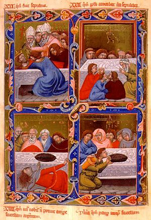 Bihar County -  Anjou Legendarium: 1. The burial of King St Ladislaus in Várad Cathedral 2. People pray at his tomb 3. A rich man cannot lift a silver tray from his tomb 4. A poor man lifts the silver tray
