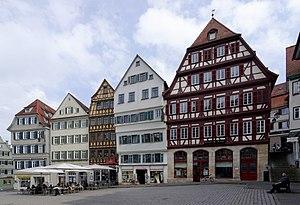 Tübingen - Shops lining town square.