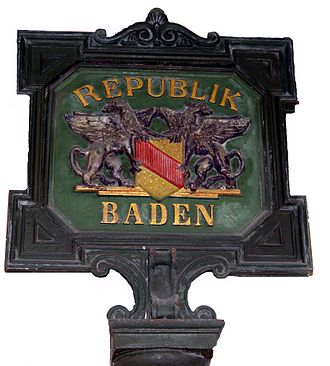 Republic of Baden - Republic of Baden sign in Rastatt city museum.