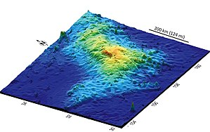 A bathemetric mapping of the volcano