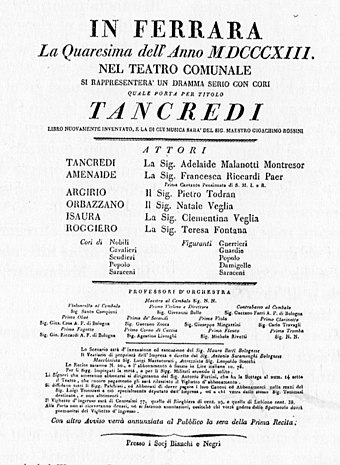 Poster for a performance of Tancredi in Ferrara, 1813 Tancredi Ferrara.jpg