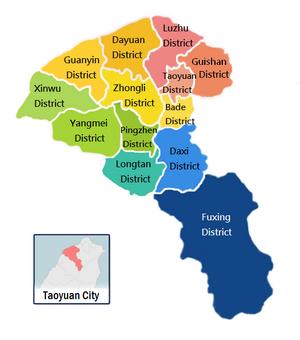 Taoyuan City Administrative Divisions Map
