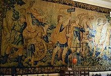 Flemish tapestry in the smoking room of the palace of marques dos