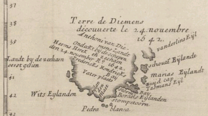 1663 map of Van Diemen's Land, showing the parts discovered by Tasman, including Storm Bay, Maria Island and Schouten Island.