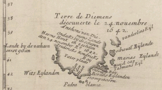 Van Diemen's Land - 1663 map of Van Diemen's Land, showing the parts discovered by Tasman, including Storm Bay, Maria Island and Schouten Island.