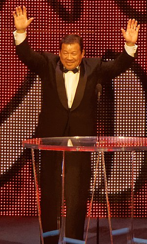 Tatsumi Fujinami - Fujinami at the 2015 WWE Hall of Fame ceremony