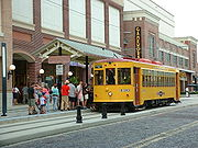 A TECO streetcar picking up passengers in Ybor City.