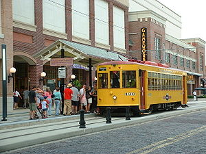TECO Line Streetcar System - A TECO streetcar picking up passengers in Ybor City