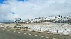 Looking northwest along Route 58 in Tehachapi after a light dusting of snow