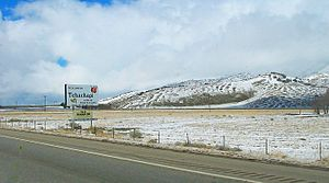 Tehachapi, California - Looking northwest along State Route 58 in Tehachapi after a light dusting of snow