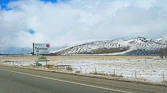 Tehachapi, California - Looking northwest along State Route 58 in Tehachapi after a light dusting of snow.