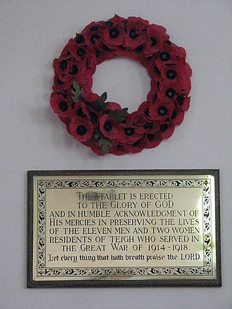 Thankful Villages - Memorial plaque in the parish church of Teigh
