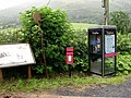 Telephone box, postbox and information board, Llanymawddwy - geograph.org.uk - 506672.jpg
