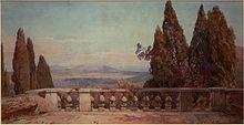 Panoramica dei Monti Cornicolani da Villa d'Este a Tivoli (acquerello di Ettore Roesler Franz del 1900)