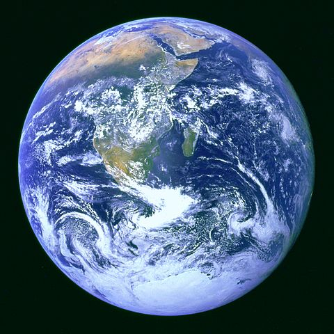 The photo shows Earth from space, the famous
