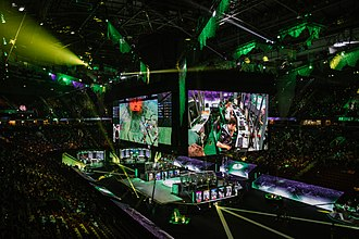 Dota 2 - The largest Dota 2 tournaments often have prize pools totaling millions of dollars. Shown here is The International 2018, which was a $25 million tournament hosted at the Rogers Arena in Vancouver.