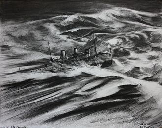 Arabis-class sloop - Artist's impression of the loss of HMS Valerian