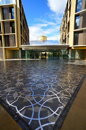 Radcliffe Observatory Quarter - The entrance of the new Andrew Wiles Mathematical Institute with Penrose tiles.
