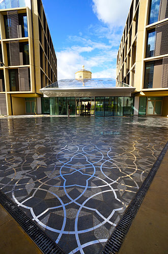 Radcliffe Observatory Quarter - The entrance of the new Andrew Wiles Mathematical Institute with Penrose tiling.