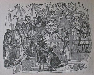 Edward Oxford -  The Old Curiosity Shop: Waxwork exhibit of a deranged Edward Oxford clutching pistol and pint pot (far right); Queen Victoria, in coronation garb, is in the line of fire at top right.