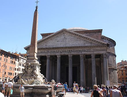 The Pantheon and the Fontana del Pantheon. Roman relics and Roman culture are important national symbols in Italy. The Pantheon.jpg