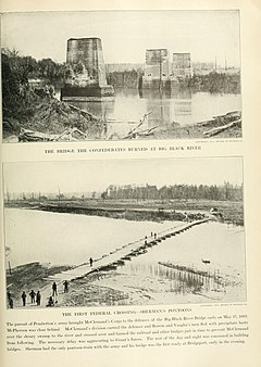 Ruins of the bridge after the battle