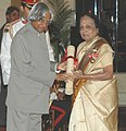 The President, Dr. A.P.J. Abdul Kalam presenting the Padma Bhushan Award – 2006 to the Chairperson of the Cancer Institute, Chennai, Dr. (Ms.) V. Shanta, in New Delhi on March 20, 2006.jpg