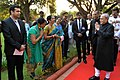 The President, Shri Pranab Mukherjee hosting 'At Home' reception, at Rashtrapati Nilayam Bolarum, Secunderabad on December 30, 2015. The Governor of Telangana and Andhra Pradesh, Shri E.S.L. Narasimhan is also seen.jpg