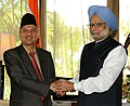 The Prime Minister, Dr. Manmohan Singh with the Prime Minister of Nepal, Dr. Baburam Bhattarai, at a Bilateral Meeting on the sidelines of the 17th SAARC Summit, at Adu Atoll, in Maldives on November 11, 2011.jpg