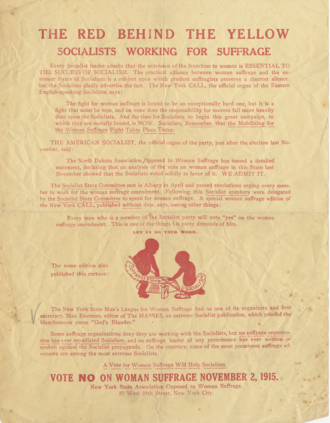New York State Association Opposed to Woman Suffrage - 1915 poster circulated by the New York State Association Opposed to Woman Suffrage.