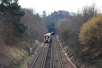Hastings line - Image: The Tunbridge Wells train enters the Somerhill Tunnel geograph.org.uk 1200150