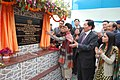 The Union Minister of Housing and Urban Poverty Alleviation & Tourism, Kum. Selja unveiling the plaque to lay the foundation stone of Integrated Housing and Slum Development Programme Under Basic Service for Urban Poor.jpg