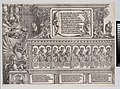 The Upper Section of the Right Portal, with the Inscription on a Stag Skin; a Frieze with Busts of Roman Emperors; and the Entablature of the Columns, from The Triumphal Arch of Maximilian I, 1st edition (1517-18) MET DP-16116-066.jpg