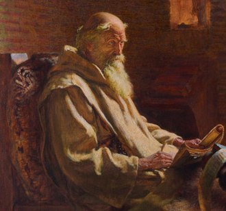 Ninian - The Venerable Bede translates John, by J. D. Penrose, c. 1902.