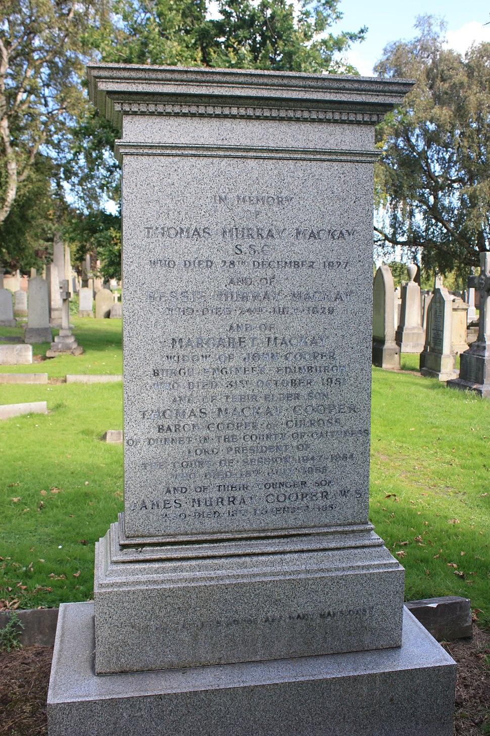 The grave of Thomas Cooper, Baron Cooper, Grange Cemetery, Edinburgh