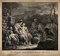 The holy family resting amongst animals in Egypt. Etching by Wellcome V0034681.jpg