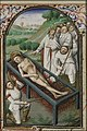 The martyrdom of St. Laurence of Rome - he is roasted on a gridiron - Book of hours Simon de Varie - KB 74 G37 - 073v min.jpg