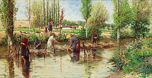 Colorful painting of five people standing in a stream  retting hemp. A woman and child stand along the stream in the background. A pastoral setting surrounds the stream, with trees and bushes, a cottage, a blue sky, and fields of yellow and green.