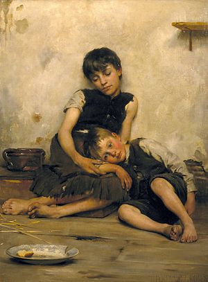 Orphan - Orphans by Thomas Kennington, oil on canvas, 1885.
