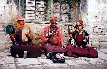 Three monks chanting in Lhasa, 1993