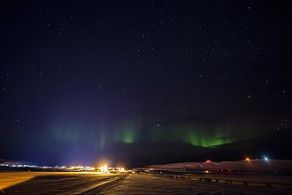Aurora over Thule Air Base in 2017 Thule AB, Greenland (39033264061).jpg