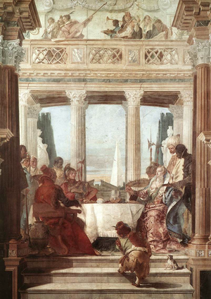 The Banquet of Cleopatra - Tiepolo's fresco version for the ballroom of the Palazzo Labia, Venice (slightly trimmed)